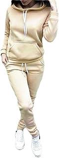 FSSE Women's Plain Sweatpants 2 Pcs Outfits Casual Sport Hoodie Sweatshirt Outfits Tracksuits