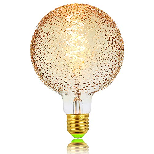 tianfan Globe G125 Glühlampe Edison gebogen LED Filament Glühbirne Edison Schraube E27 220/240 V dimmbar, glas, Bubble, E27 4.00 wattsW 230.00 voltsV
