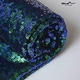 ShinyBeauty Pailletten-Stoff Meterware Schwarz 1 Meter Sparkly Stoff glitzernder Stoff,...