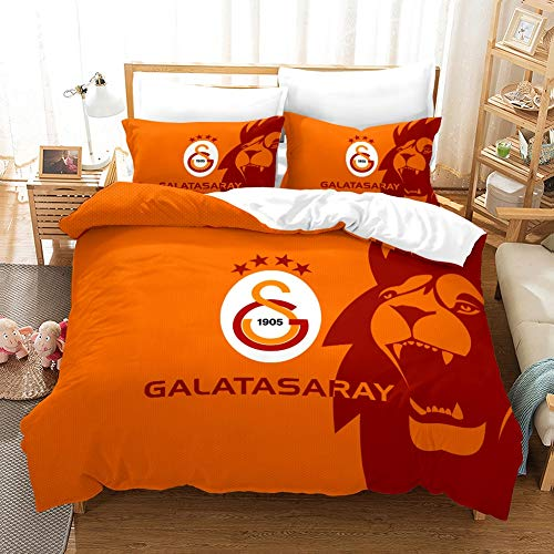 ACJIA Bettbezug-Set Sport-Thema-Bettwäsche, kühle Flamme Teen Bettbezug Ball Mannschafts Bettwäsche-Set (Galatasaray),A,135 * 200cm