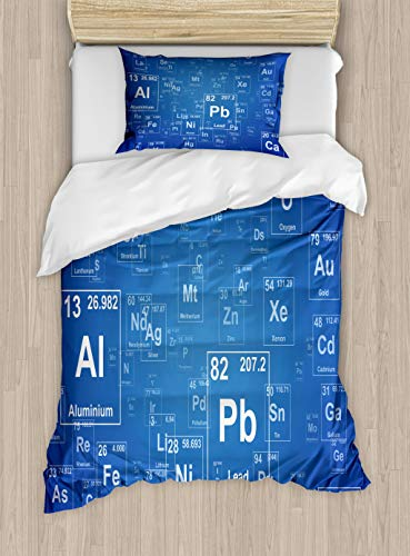 Ambesonne Science Duvet Cover Set, Chemistry Tv Show Inspired Image with Periodic Element Table Image Print Art, Decorative 2 Piece Bedding Set with 1 Pillow Sham, Twin Size, Blue and White