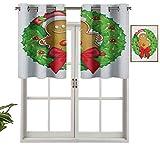 Hiiiman Cenefas de ventana para oscurecimiento de la habitación, corona de Navidad con pan de jengibre, juego de 2, cenefas de 42 x 24 pulgadas para ventana de cocina con ojales