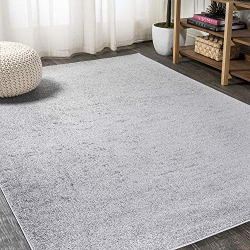 JONATHAN Y Haze Solid Low-Pile Light Gray 8 ft. x 10 ft. Area Rug, Casual,Contemporary,Solid,Traditional,EasyCleaning,Bedroom,LivingRoom, Non Shedding