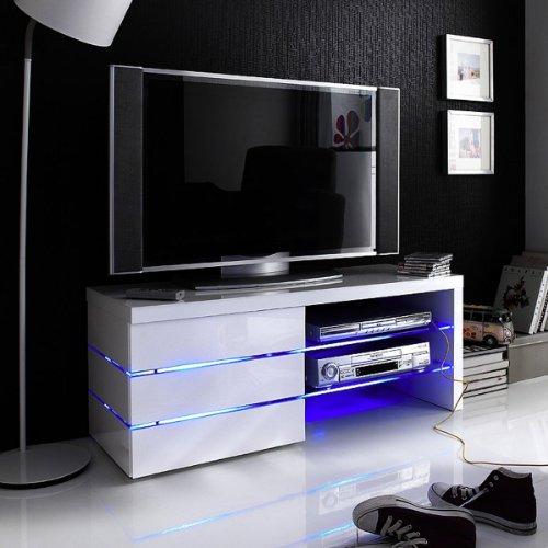 Robas Lund 59057W11de TV LOWBOARD Sonia, Blanco Brillante, Cristal Transparente, 3cajones, Efecto iluminación LED Azul, B/T/H Aproximadamente 110x 42x 44cm