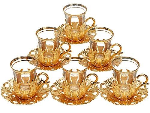 CopperBull 2018 Türkisches Teegläser-Set mit Untertassen, Haltern und Löffeln (dekoriert goldfarben)