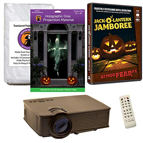 Halloween Window Projection Kit Includes 1900 Lumen Projector, 2 High Resolution Projection Screens (R/D) and AtmosFEARFx Jack-O-Lantern Jamboree on DVD