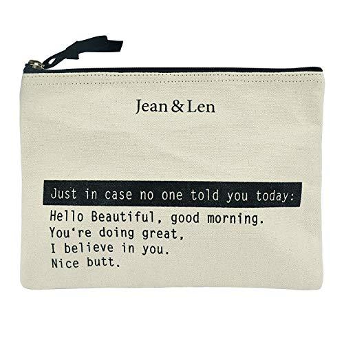 Jean&Len Kosmetiktasche, Kulturbeutel, Make-Up Bag, 100% recycelte Baumwolle, Schminktasche mit Reißverschluss, vielseitig einsetzbar, ideale Reisegröße (24cm)