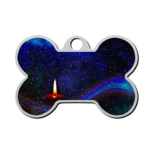 VinMea Kerst Kaars Huisdier Tag - Bone Shaped Hond Tag & Kat Tags huisdier ID Tag Gepersonaliseerde Uw huisdier naam & nummer 3D afdrukken