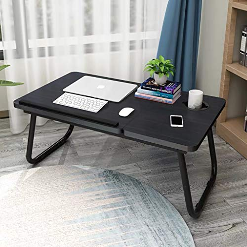Laptop Bed Tray Table, Foldable Lap Desk Stand,Bed Tray Laptop Desk, Multifunction Lap Tablet with Slot and Cup Holder, Can Be Used for Office and Eating Black
