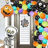 JOYMEMO Halloween Balloon Garland & Arch Kit Halloween Decorations 110 Pack Balloons Strip Tape Skelecton Bat Pumpkin Ghost Balloons for Halloween Party