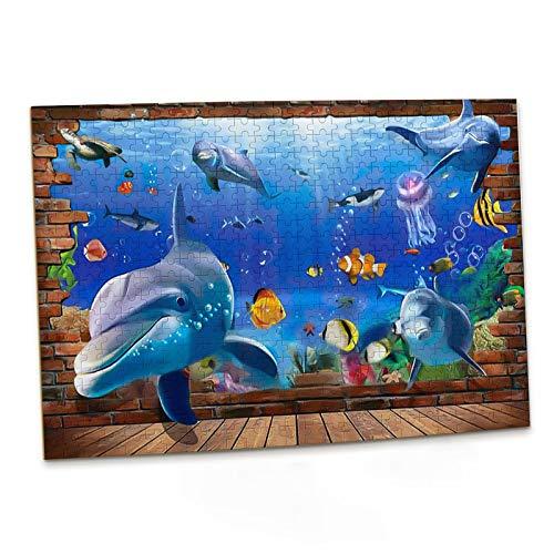 Blod and Brash Puzzle Kinder 500 Teile mit Delfine Sea World, 3D Cute Dauphins Schildkröte Fisch Qualle Meereswelt Puzzlespiel für Erwachsene und Kinder ad 10 Jahren Jungen Mädchen Geschenke 52x38cm