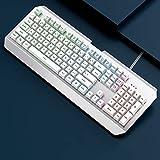 YAOHONG Teclado Teclado Escritorio Escritorio computadora portátil Oficina Juego e-Sports Keyboard mecánico Mano sentida Cable USB (Color : White)