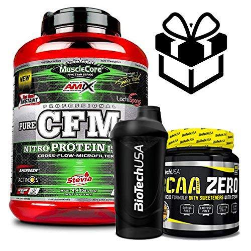 AMIX MuscleCore CFM Nitro Protein Isolate - 2 kg milk Vanilla + Bcaa Zero + Mezclador ✅