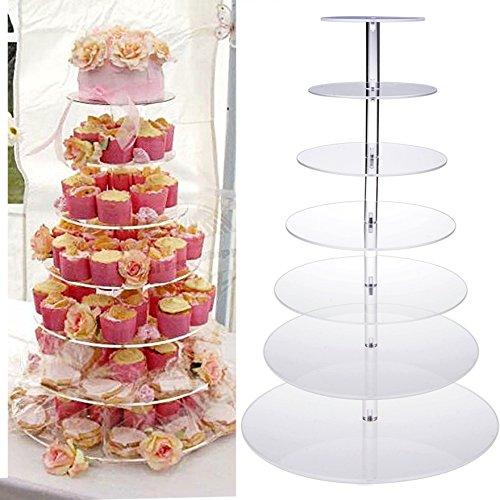 Ultrey Tortenständer 7 Etagen Cupcake Tower Kristallklare Acryl Kuchenständer Cupcake Ständer Nachtischständer für Hochzeit Party Geburtstag