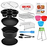 8 Inch Air Fryer Accessories XL, 16 Pcs with Recipe Cookbook And Magnetic Cheat Sheet for Gowise Ninja Cosori...