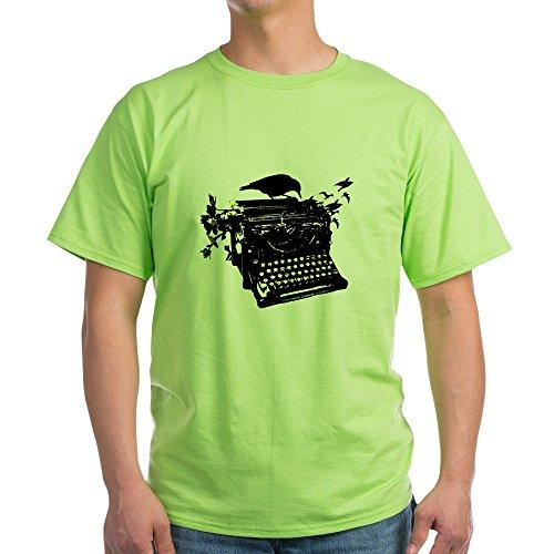 Cafepress Typweriter Birds Natural T-shirt, Green for Adults