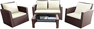 Panana Rattan Patio Furniture Set 4 Pieces Wicker Garden Table and Chairs Sofa Conversation Outdoor Brown Wicker with Cream Cushions