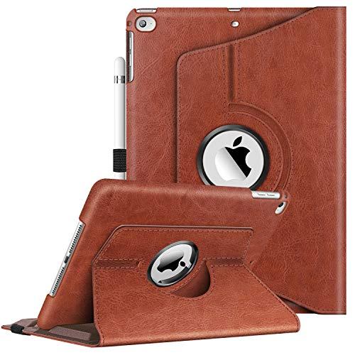 Fintie Case for iPad 9.7 2018 2017 / iPad Air 2 / iPad Air - 360 Degree Rotating Protective Stand Cover with Auto Sleep Wake for iPad 9.7 inch (6th Gen, 5th Gen) / iPad Air 2 / iPad Air, Saddle Brown