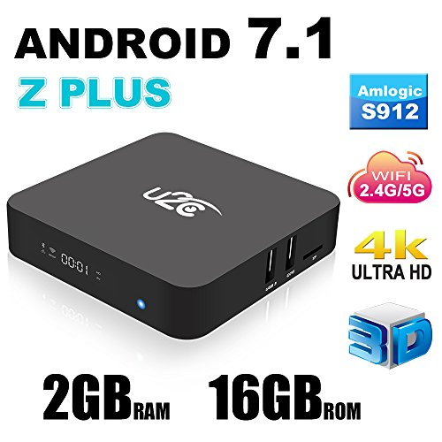 Android 7.1 Z Plus Smart TV Box 2GB 16GB Amlogic S912 Octa Core 3D 4K H.265 VP9 2.4/5GHz Dual-Band WiFi Media Player with LED Display Gigabit 1000M LAN Ethernet