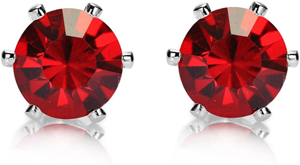 RIZILIA Stud Pierced Earrings with Round Cut CZ [3 Colors available] in White Gold Plated, Simple Modern Elegant