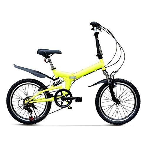 20 Pulgadas Bicicleta Bici Ciudad Plegables Adulto Hombre Mujer, Bicicleta de Montaña Btt MTB Ligero Folding Mountain City Bike Doble Suspension Bicicleta Urbana Portátil, H089ZJ
