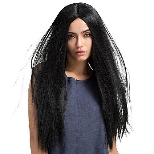 TopWigy Parrucche lunghe e dritte Parrucche sintetiche per capelli neri Parrucche lunghe nere lunghe Parrucche lunghe da donna per la festa quotidiana