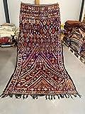Alfombra marroquí Beni Mguild Berber, 100 % tejida a mano, lana tribal, forma de diamante, 319 x 174 cm