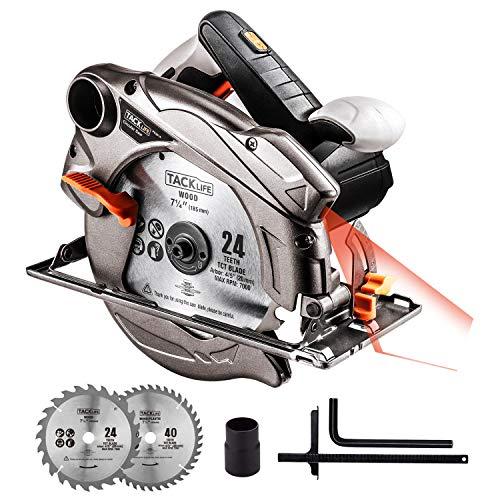 Tacklife Handkreissäge 1500W & 4500RPM, Kreissäge, Verstellbare Schnitttiefe bei 45 °/90° (0-45/63mm), 2 Sägeblätter(24T/40T), Winkeleinstellung (0-45°), Motor aus Reinkupfer