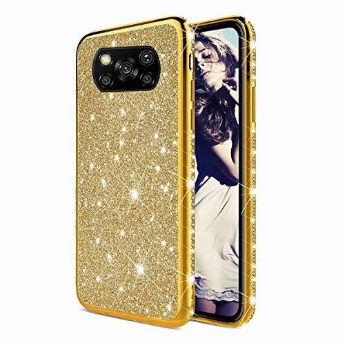 TYWZ Strass Hülle für Xiaomi Poco X3 NFC,Glitzer Diamant Glanz Bling Mädchen Case Cover Ultra-Slim Stoßfeste Anti-Rutsch Silikon Schutzhülle-Gold
