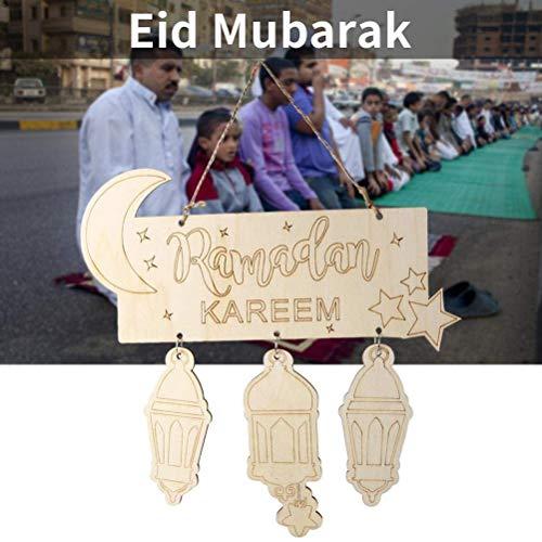 Farolillos de madera Eid Mubarak colgantes ornamentales