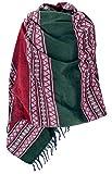 GURU-SHOP, Bufanda india de pashmina, bufanda, bufanda, chal bohemio con diseño de cachemira, color azul sintético, tamaño de la ropa: talla única Modello Inca verde/rosso talla unica