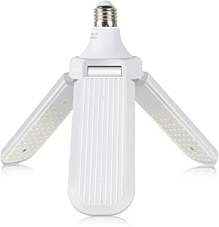 LED Garage Lights, 45W Garage Ceiling Light LED Foldable Fan Blade Bulb Suitable for E27/E26 Lamp Holders Adjustable LED C...