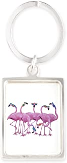 Portrait Keychain Cool Flamingos with Sunglasses