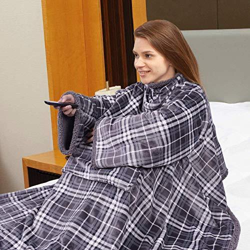 Viviland TV-Decke Sherpa Kuscheldecke mit Ärmeln und Fuß Tasche,zweiseitige Wohndecken,Mikrofaser Fleece Sherpa Warme Decke mit Stark Klettverschluss,Tagesdecke XL 170 x 200cm Graues Plaid