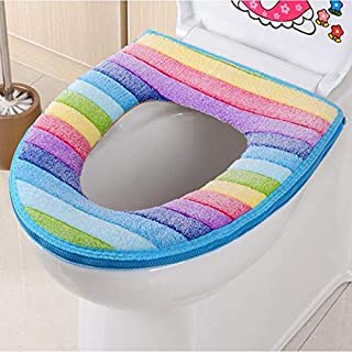 Toilet Seat Covers - Rainbow Coral Velvet Warm And Comfortable Toilet Seat Cover Pattern Cushion Pads - Case Size Cute Scripture Religious Paper Toddler Rugs Unique Rubber Elongated Cloth Com