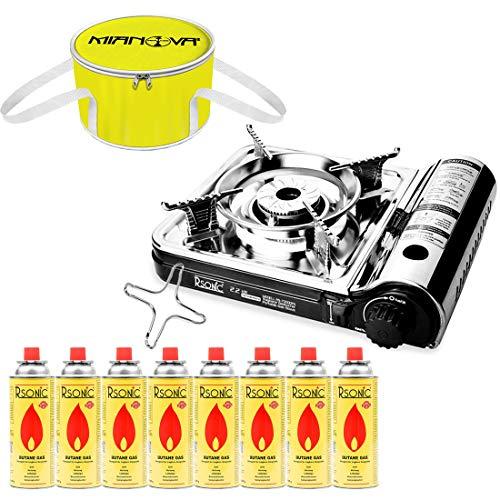 Mianova Gaskocher Campingkocher RS-7000DFS im Koffer Shisha Kohle Anzünder Gaskartuschen Gaskreuz Kohleanzünder Grillanzünder mit 8 Gasflaschen Kühltasche