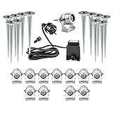 Runde Designer LED Gartenstrahler 12er Set 12x 12V elektrische Gartenlampe außen Außenbeleuchtung