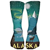 Mabell Casual Adults Football Soccer Sport Stockings Classics Awesome Alaska Moose Posters Girls High Long Socks
