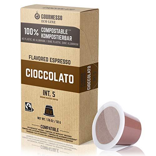 Gourmesso Eco Line Cioccolato (Schokolade) - 100% kompostierbare* und nachhaltige Kaffeekapseln | ohne Alu und Plastik – 10 Nespresso kompatible Kaffeekapseln – Fairtrade