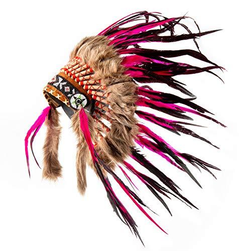 Pink Pineapple Tocado Hecho a Mano Inspirado en los Nativos Americanos: Equipo de Plumas Genuino de Niños y Adultos para Festivales - Pequeña - Rosa y Negro