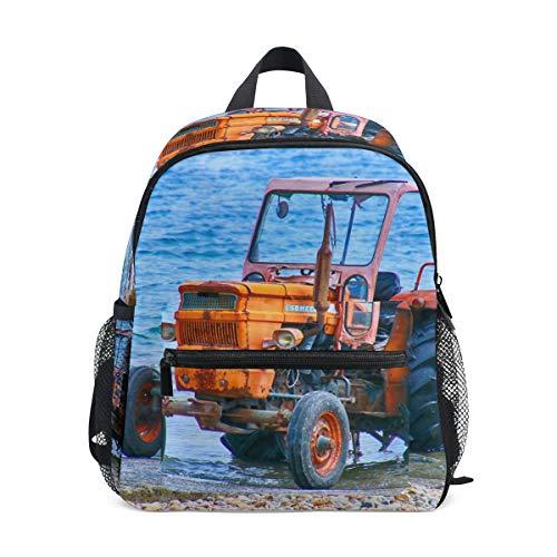 Mochila escolar pequeña para niños y niñas, diseño de tractor, color azul