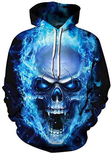 Imbry Herren Slim Fit Hoodie Long Sleeve Kapuzenpullover 3D Druck Muster Sweatshirt Pullover (2XL/3XL, Butterfly Skull)