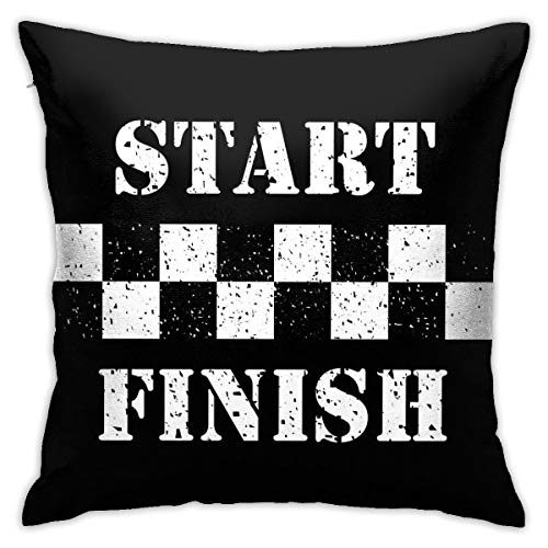 Yaateeh Car Cool Black White Formula Checkered Flags Motorsport Throw Pillow Covers Decorative 18x18 Inch Pillowcase Square Cushion Cases for Home Sofa Bedroom Livingroom