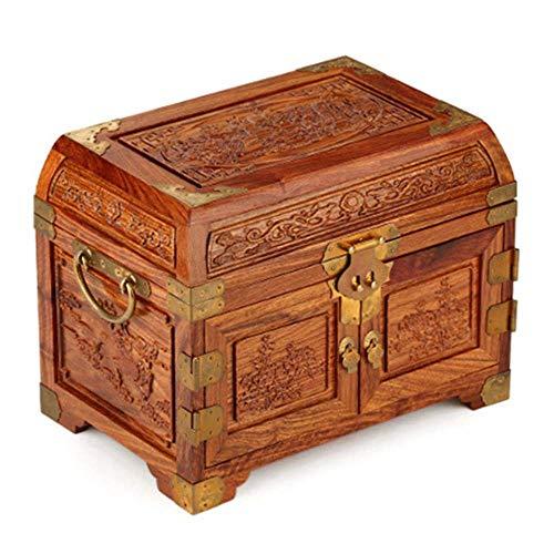 ALIANG Cajas de joyería, Caja Grande de Madera con Forma de dragón de Palo de Rosa y Tesoro de Phoenix, Caja de Almacenamiento de Joyas, Regalo de cumpleaños