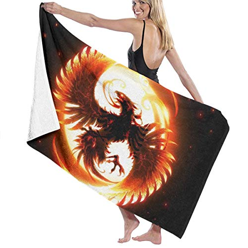 PengMing Magic Firebird Phoenix_waifu2x_Art_Scale_TTA_1 Soft and Super Absorbent Bath Towel, Suitable for Hotel, Swimming Pool, Gym, Beach-32in X 52in