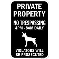PRIVATE PROPERTY ブラックマグネットサイン:ラットテリア シルエット 英語 私有地 無断立入禁止
