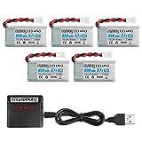Makerstack 5pcs 1s 3. 7v lipo 650mah batería de lipo para syma x5c x5 rc drone quadcopter batería recargable de lipo con cargador 5 en 1
