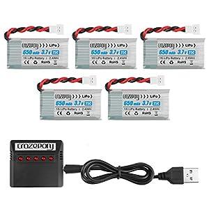 Makerstack 5PCS 1S 3.7V Lipo 650mAh Batería de lipo para SYMA X5C X5 RC Drone Quadcopter Batería Recargable de lipo con Cargador 5 en 1
