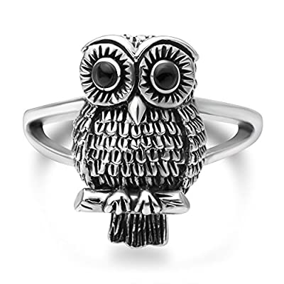 Chuvora 925 Oxidized Sterling Silver Vintage Owl Bird Black Eyes Band Ring Women Jewelry Size 6