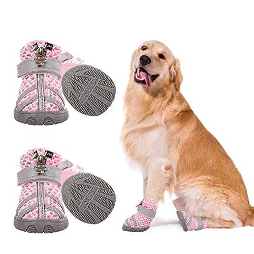 Zuozee Dog Shoes Breathable Mesh Pet Boots with Anti-Slip Sole and Zipper Closure Durable Pet Paw...